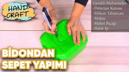 Çamaşır Suyu Bidonundan Sepet Yapımı - How to make basket from the bleach bottle?   Handcraft TV