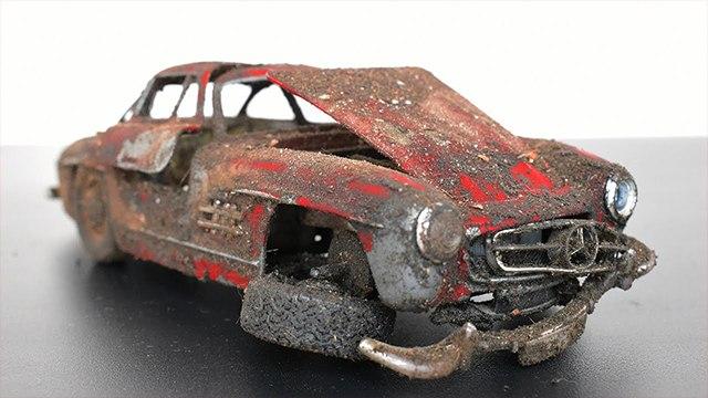 Restoration Abandoned  Mercedes Benz 300SL Model Car