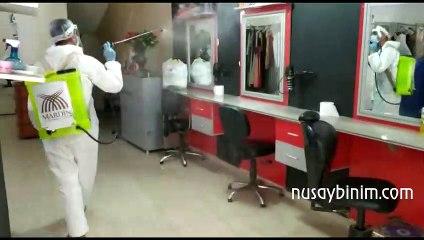Nusaybin'de berber, kuaför ve güzellik salonları dezenfekte edildi
