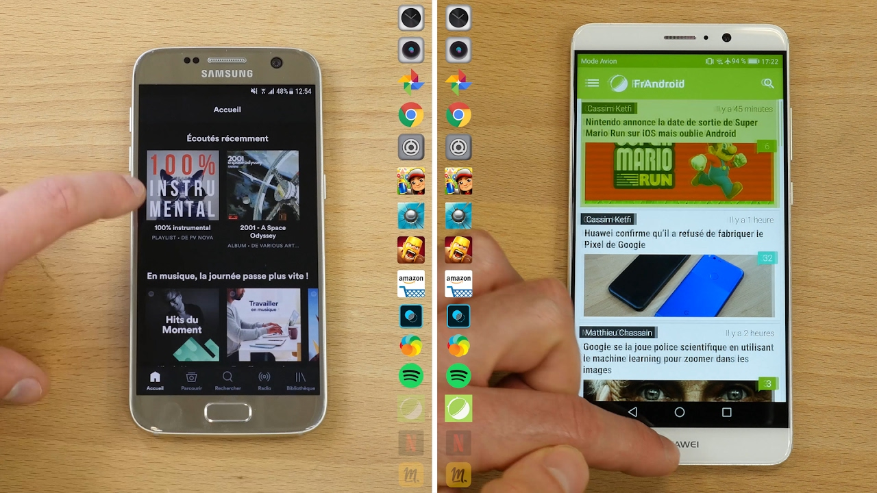 Speedtest : Samsung Galaxy S7 Nougat (7.0) VS  Huawei Mate 9