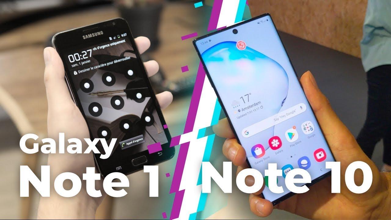 Samsung Galaxy Note 10 vs Note 1 : 8 ans d'évolution !