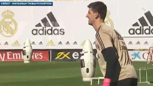 Thibaut Courtois déjà très chaud à l'entraînement du Real Madrid