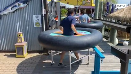 Seafood restaurant puts diners in 'bumper boat' tubes to ensure social distancing