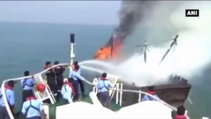 Indian Coast Guard Rescues Fishermen After Boat Catches Fire