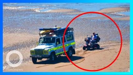 遭勸代步車不能上沙灘 老人連人帶車卡在沙灘上大笑
