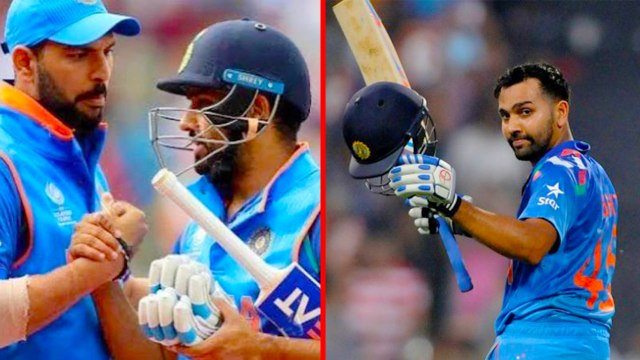 How Yuvraj  reacted to Rohit Sharma's double ton?