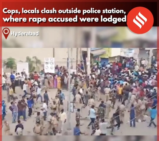 Locals protest over Hyderabad vet rape-murder case, throw slippers at cops