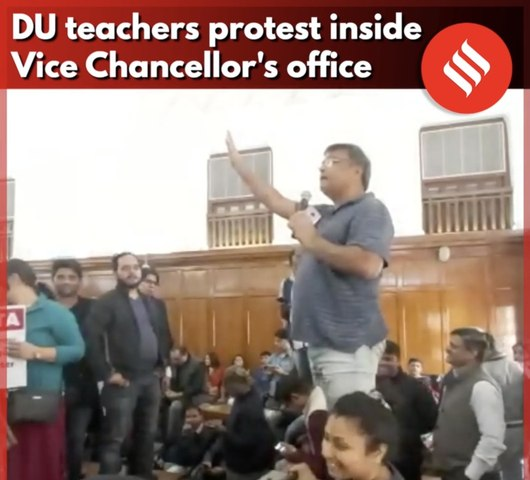 DU teachers protest inside VC's office