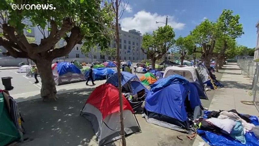 شاهد: مخيّم في قلب سان فرانسيسكو الأمريكية من أجل إيواء المشردين