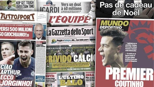 Six clubs s'arrachent Philippe Coutinho, un test positif fait paniquer toute l'Italie