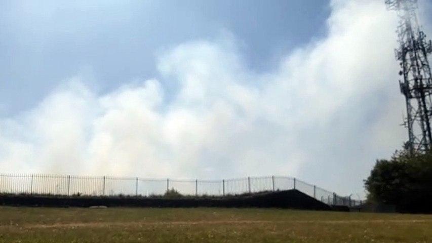 Fire next to Bramley Park