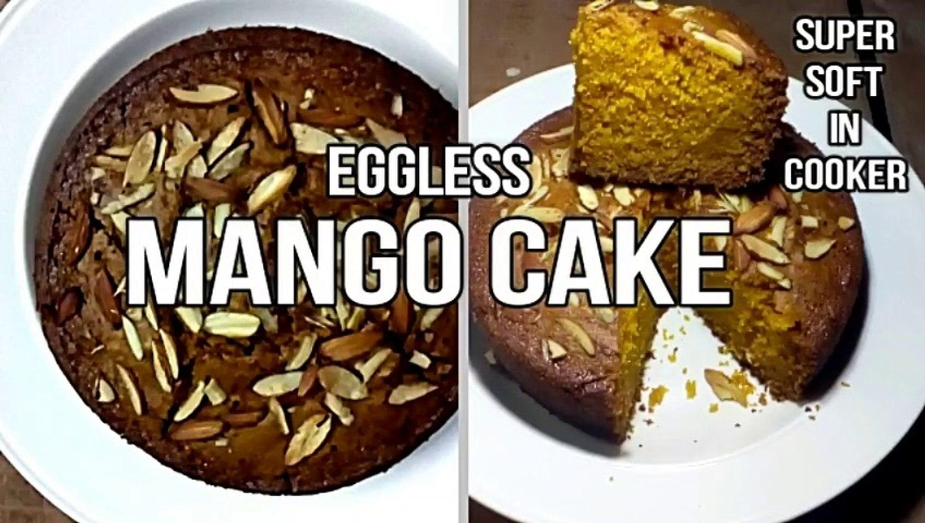 MANGO CAKE RECIPE, EGGLESS MANGO CAKE, MANGO CAKE IN COOKER, MANGO RAVA / SUJI CAKE