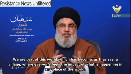 Nasrallah: the Covid-19 pandemic will upset the world order, and is a reminder of the human condition