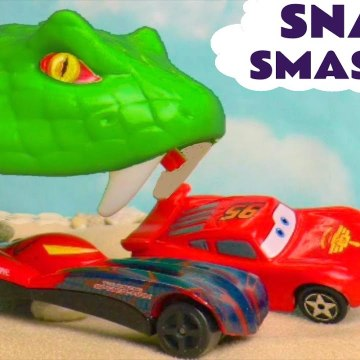 Hot Wheels Snake Smasher with Disney Pixar Cars 3 Lightning McQueen with Marvel Avengers and PJ Masks in this Toy Story Race for kids from a family channel