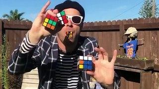 Il parvient à résoudre trois Rubik's Cube... en jonglant avec !