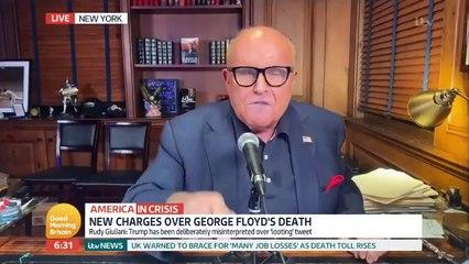 Rudy Giuliani vs Piers Morgan - Rudy lowers tone rants at Piers SUCKED UP