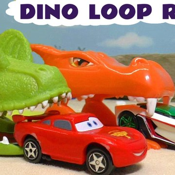 Hot Wheels Dinosaur Loop Race with Marvel Avengers and Disney Pixar Cars 3 Lightning McQueen with Family Friendly Funny Funlings in this Full Episode Race Story for Kids