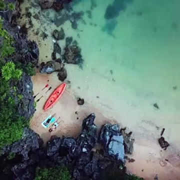 Top View Footage Of People Chilling On The Island