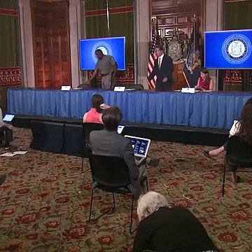 New York Gov. Andrew Cuomo holds a press briefing.