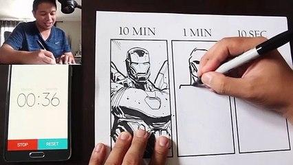 Un artiste dessine Iron Man