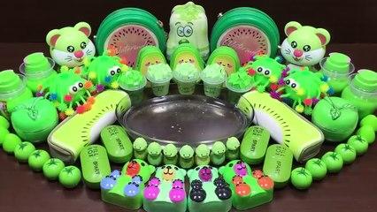 Green Slime - Mixing Random Things into Clear Slime - Satisfying Slime Videos #514