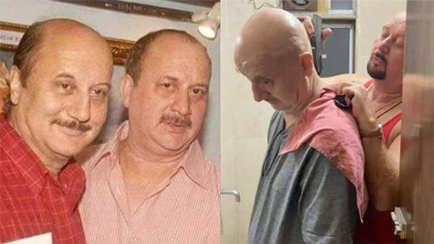 Anupam Kher Gets A 'Quick Haircut' From Brother Raju Kher