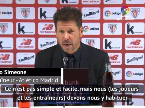 """28e j. - Simeone : """"Nous devons nous habituer à jouer sans supporters"""""""