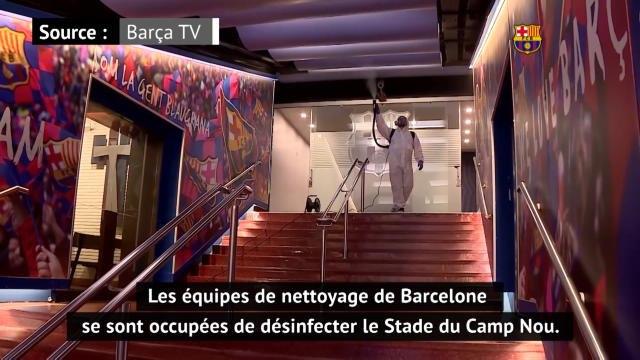 Football: Le Camp Nou en pleine séance de nettoyage