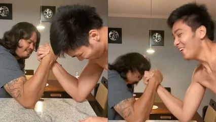 Kai Sotto falls to dad Ervin in arm wrestling