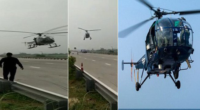VIDEO: भारतीय वायुसेना का 'चीता' सोनीपत में उतरा हाईवे पर, 1 पायलट और 4 जवान थे सवार