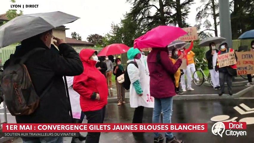 1er mai : convergence des blouses blanches et des gilets jaunes à Lyon