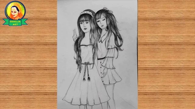 friends drawing | Best friends❤ pencil Sketch Tutorial | How To Draw two Friends Hugging Each other