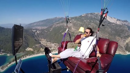 Paraglider Takes Relaxing In The Sky To A Whole New Level