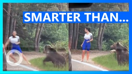 The Moment a Bear Lunges at a Woman Trying to Take a Selfie