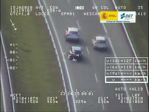 VÍDEO: La guardia Civil le caza a 211 km/h, sin respetar la distancia y adelantando por la derecha