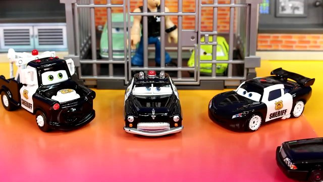 Disney Pixar Cars Sheriff Car McQueen Mater Go On Mission Lemons Professor Z To Jail Oil Rig
