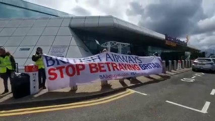 British Airways protesters at Newcastle Airport