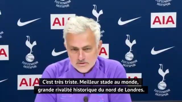 """35e j. - Mourinho : """"Un derby triste, sans ambiance"""""""