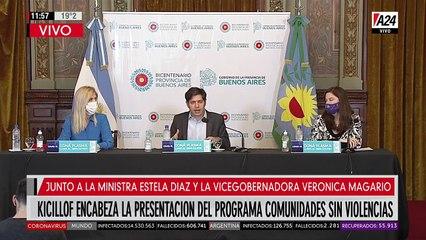 Kicillof junto a la vicegobernadora Magario y la ministra Estela Díaz