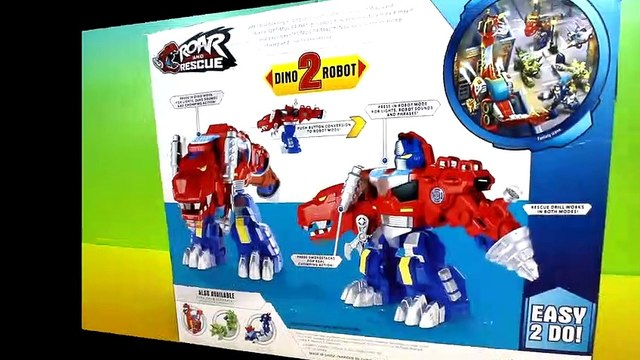 Playskool Heroes Rescue Bots Transformers Optimus Primal Dinosaur to Robot with Imaginext