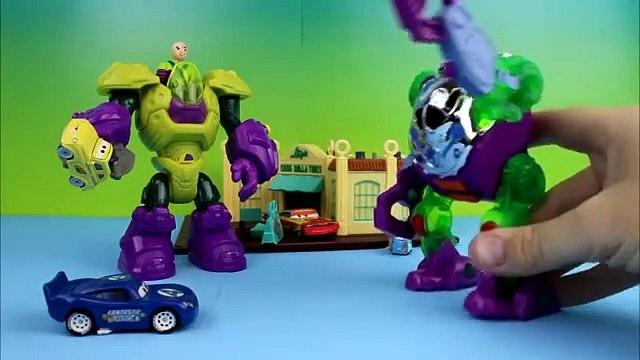 Disney Pixar Cars Lightning McQueen as Fantastic Four McQueen beats robots Joker & Luthor