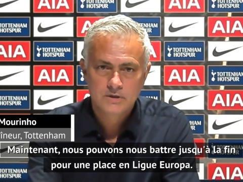 """35e j. - Mourinho : """"Se battre pour se qualifier en Ligue Europa"""""""