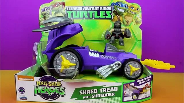 Teenage Mutant Ninja Turtles Half Shell Heroes Shredder's Shred Tread take on Leo Mikey Donnie Raph