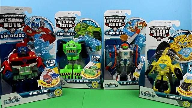 Transformers Rescue Bots Playskool Heroes Optimus Prime, Boulder construction bot, bumblebee