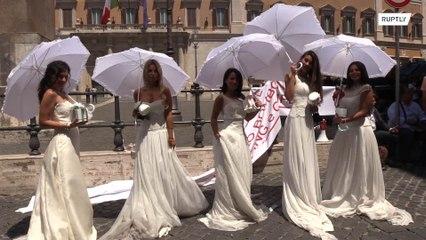 Noivas protestam contra as restrições das festas de casamento devido ao coronavirus na Itália