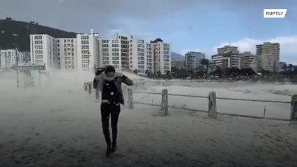 Sea foam and heavy winds create 'snowy' scene in Cape Town