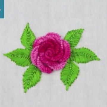 Cast on Stitch Rose Embroidery Design - Brazilian Embroidery   تعلم اشكال بالخيط والابره للمبتدئين