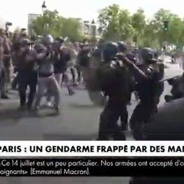 Les images qui choquent - Un gendarme violemment bousculé et agressé, hier, lors de la manifestation organisée pour réclamer plus de moyens pour l'hôpital -
