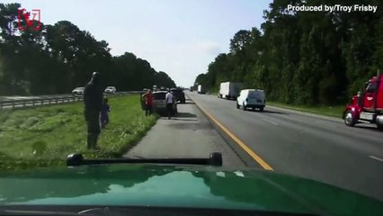 Footage Shows Shaq Stopping to Help Family Who Suffered Tire Blowout on Highway