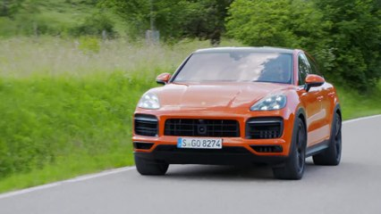 The new Porsche Cayenne GTS Coupé in Lava Orange Driving Video